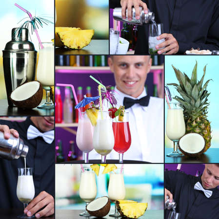 Alcohol drinks collage photo