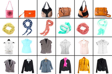 Collage of modern clothes and accessories photo
