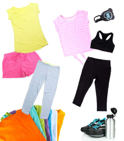 Collage of sportswear isolated on white