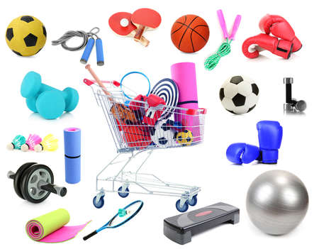 Sports equipment collage isolated on white photo