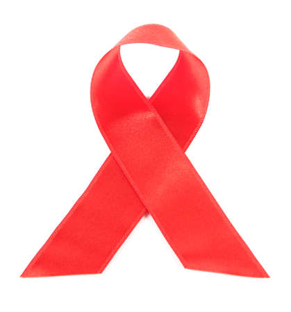 Red ribbon HIV, AIDS isolated on white photo