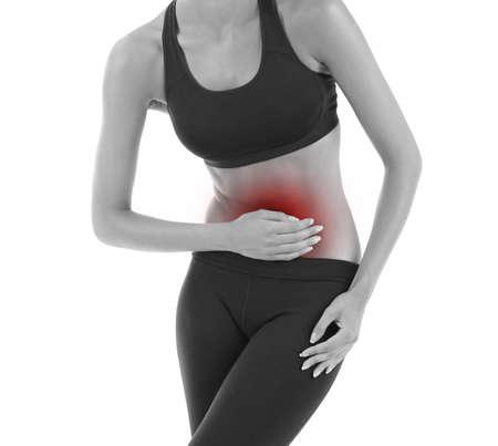 abdominal pain: Dolore addominale isolato su bianco