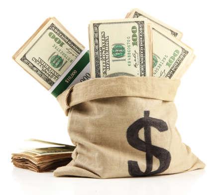 Geld in de zak op wit wordt geïsoleerd Stockfoto