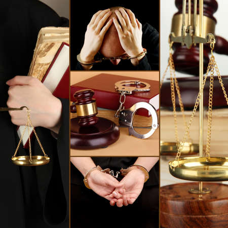Conceptual collage of litigation photo
