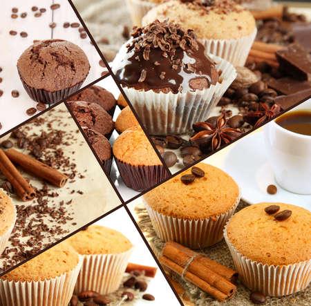 postres: Collage de los pastelitos de chocolate Foto de archivo