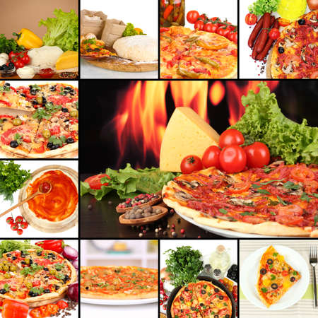 pizza ingredients: Collage of delicious pizza with ingredients Stock Photo