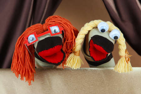 puppet theatre: Puppet show on brown background