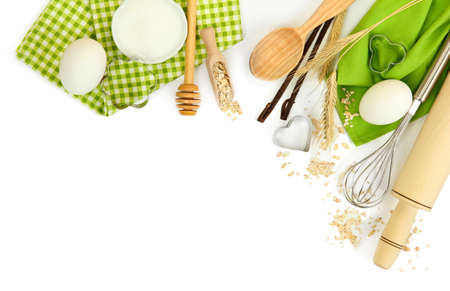 kitchen tool: Cooking concept. Basic baking ingredients and kitchen tools isolated on white