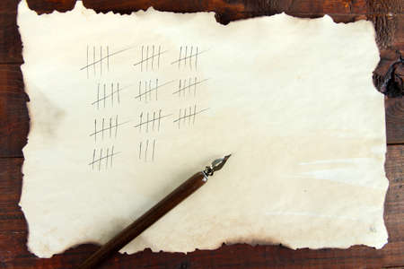 burned out: Counting days by drawing sticks on paper on wooden background Stock Photo