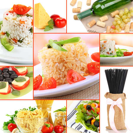 Tasty food collage photo