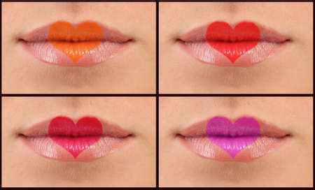 Collage of woman lips photo