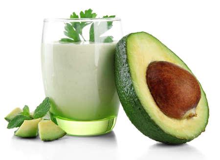 yogurt: Fresh avocado smoothie isolated on white