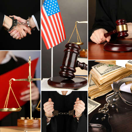 Conceptual collage of litigation photo