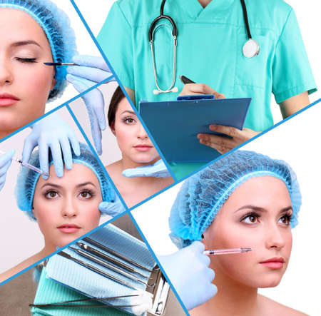 augmentation: Plastic surgery collage Stock Photo