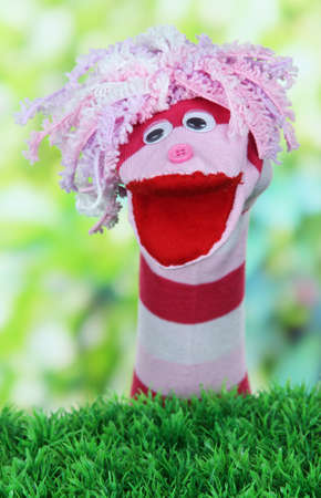 sock puppet: Cute sock puppet on bright background