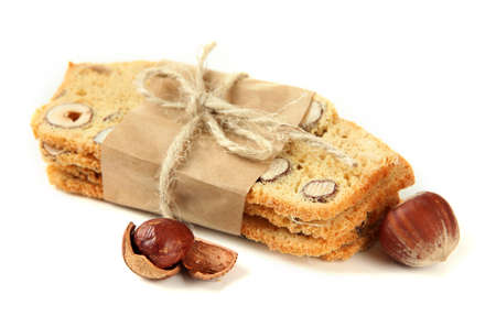 Biscotti with  nuts, isolated on white  photo
