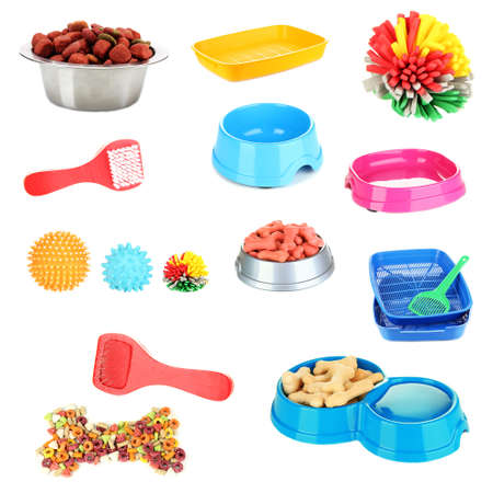 trays: Collage of different stuff for animals Stock Photo