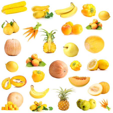 Collection of fruits and vegetables isolated on white photo