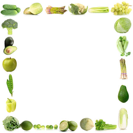 Collage-frame of green vegetables and fruits photo