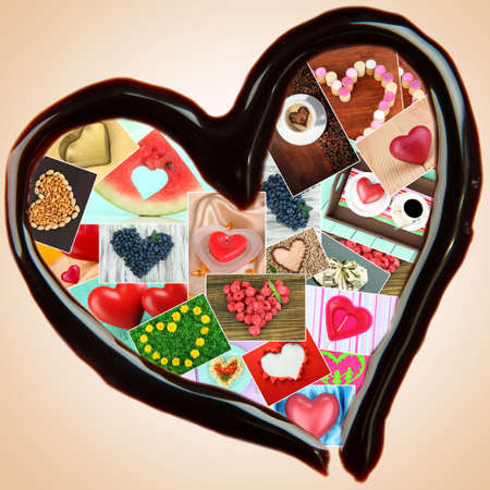 Collage of heart-shaped things in chocolate heart on beige background photo