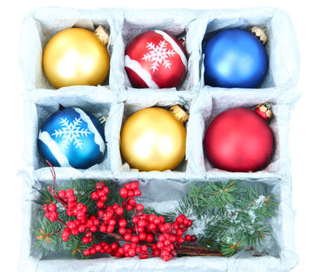 Beautiful packaged Christmas balls, close up photo