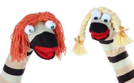 Cute socks puppet isolated on white photo