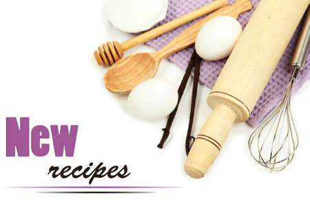 baking ingredients: Cooking concept. Basic baking ingredients and kitchen tools isolated on white