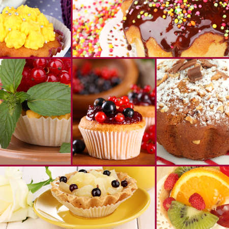 buttery: Collage of different tasty cupcakes