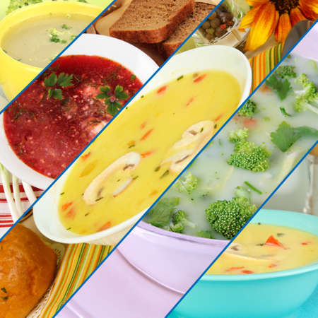Collage of different soups photo