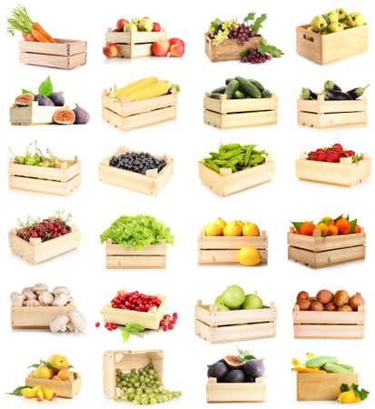 баклажан: Коллаж из фруктов и овощей в деревянных ящиках на белом