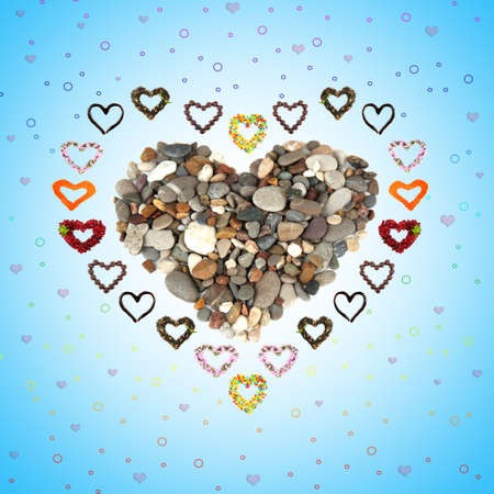 Collage of heart-shaped things on blue background photo