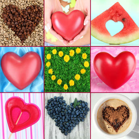 Collage of heart-shaped things photo