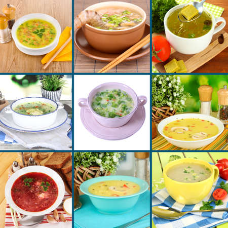 chicken soup: Collage of different soups