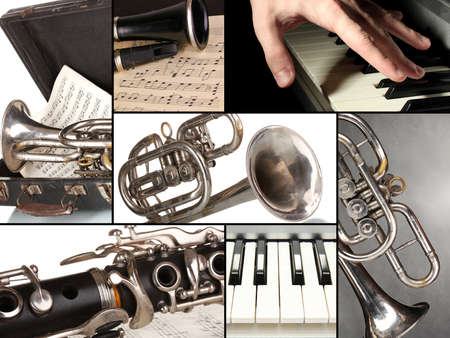 musical instrument parts: Classical music collage Stock Photo