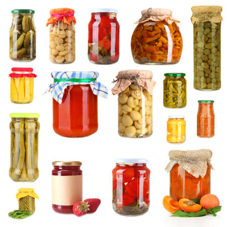 Set of canned vegetables and fruits isolated on white photo