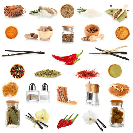 Various spices and herbs isolated on white photo