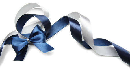 Color gift satin ribbon bow, isolated on white photo