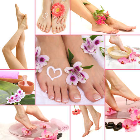 Collage of spa with beautiful legs photo