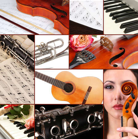 clarinet: Classical music collage Stock Photo