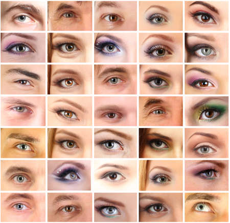 Collage of different peoples eyes photo