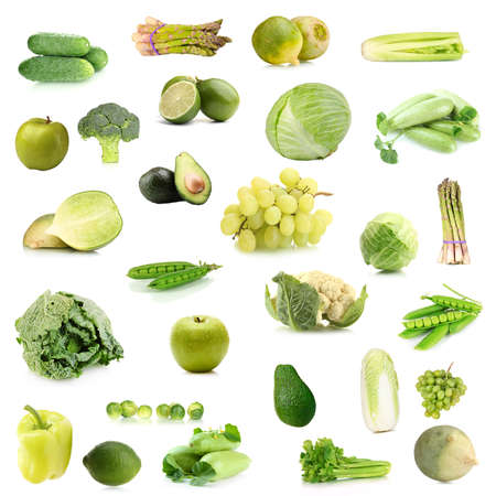 savoy cabbage: Collage of green vegetables and fruits