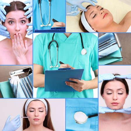 augmentation: Plastic surgery collage Stock Photo