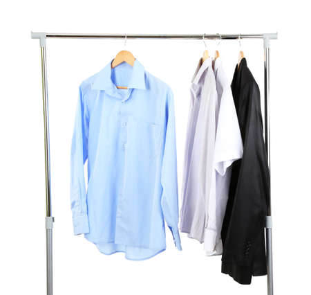 Office  male clothes on hangers, isolated on white photo