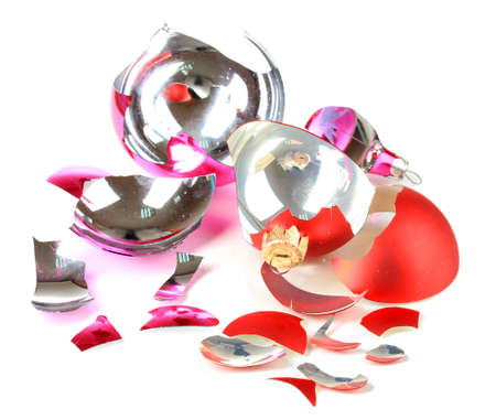 Broken Christmas Toys isolated on white photo