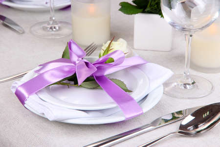 Table arrangement in restaurant photo