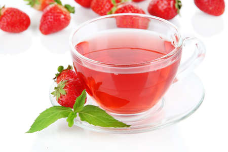 Delicious strawberry tea isolated on white photo