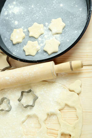 Process of making New Year cookies close-up photo