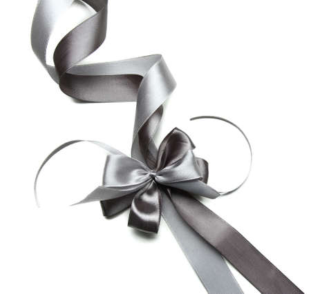 silver wedding anniversary: Color gift satin ribbon bow, isolated on white