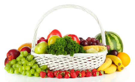 Different fruits and vegetables isolated on white photo