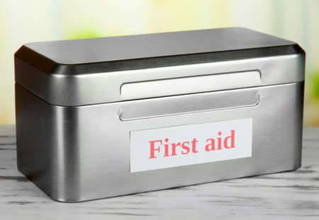 being the case: First aid box on bright background
